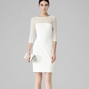 REISS white Ibiza mesh stripe panel dress